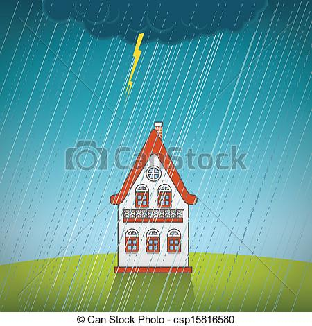 Vector of Vintage lonely house on the rain csp15816580.