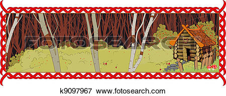 Clip Art of A lonely house in the fairy forest k9097967.