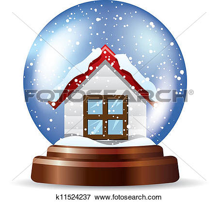 Clip Art of Snowglobe with a lonely house k11524237.