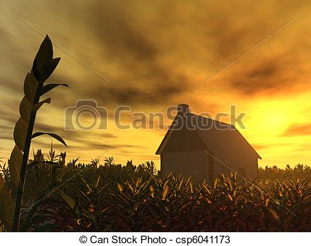 Drawings of house in sunset.