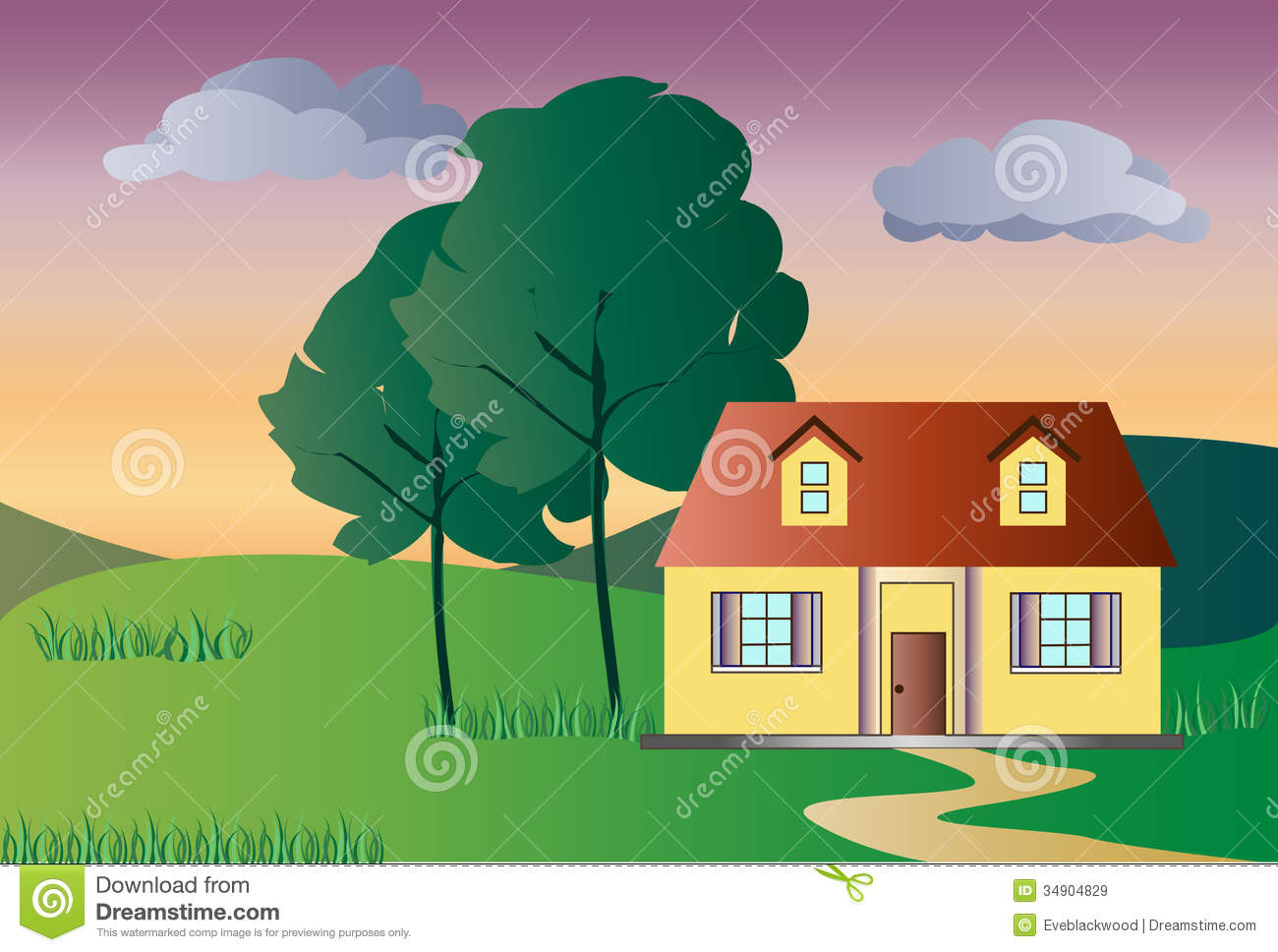 The Lonely House At The Sunset Royalty Free Stock Images.