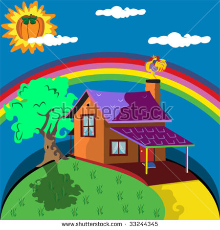 Lonely House With A Rainbow In Background. Stock Vector.