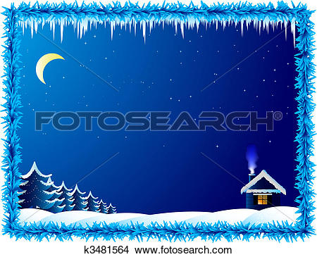 Clipart of The lonely house in frosty night k3481564.