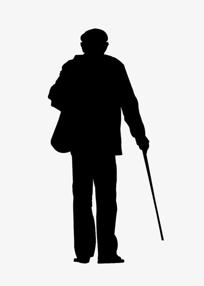 Lonely old man back PNG clipart.