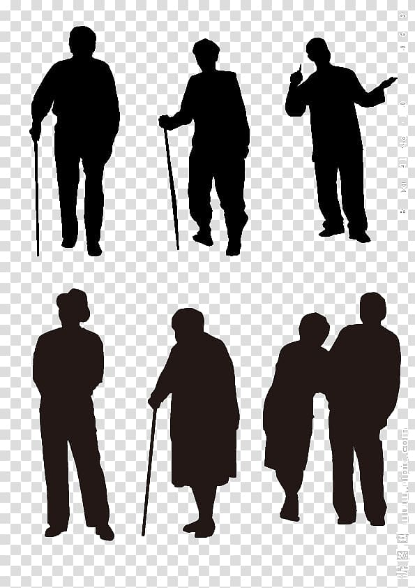 People holding walking canes illustration, Silhouette.