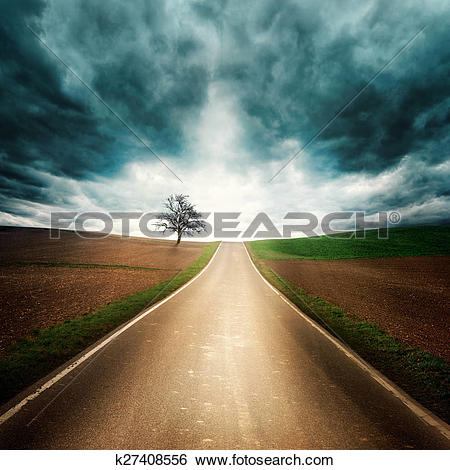 Stock Images of Lonely road with dramatic mood k27408556.