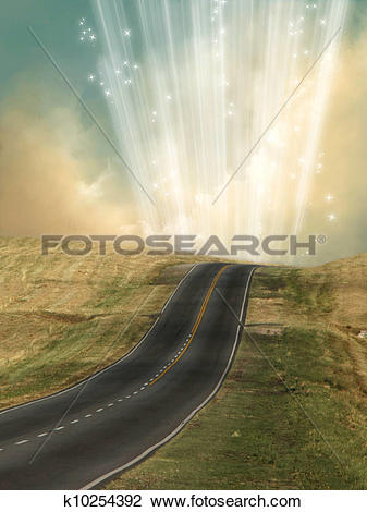 Clip Art of lonely road k10254392.