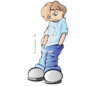 Sulking Teenage Boy Leaning Against the Wall Clip Art Image.