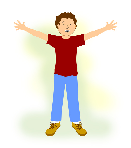 Clipart of body with arms stretched out.