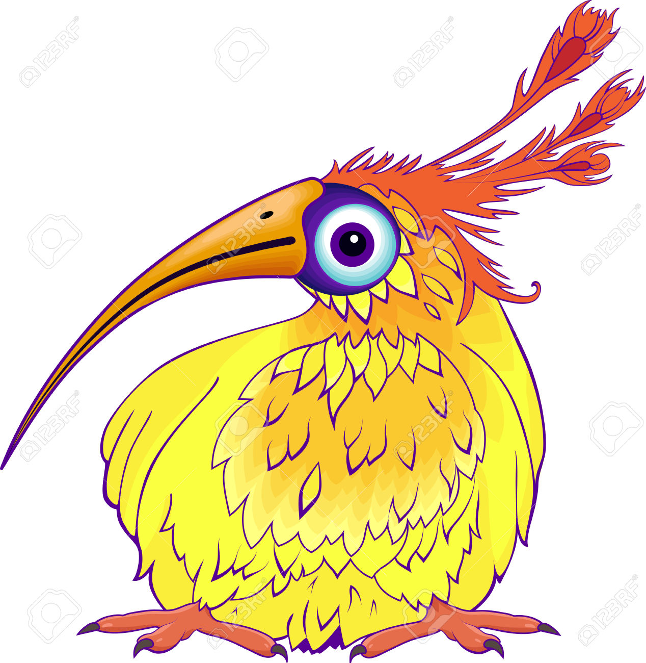 Funny Cartoon Bird With Long Beak And Long Feathers On It Royalty.
