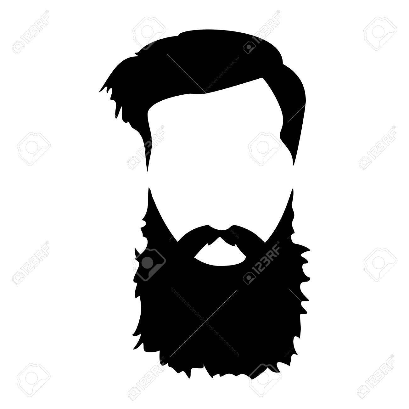 Hipster detailed hair and beards set. Fashion bearded man.
