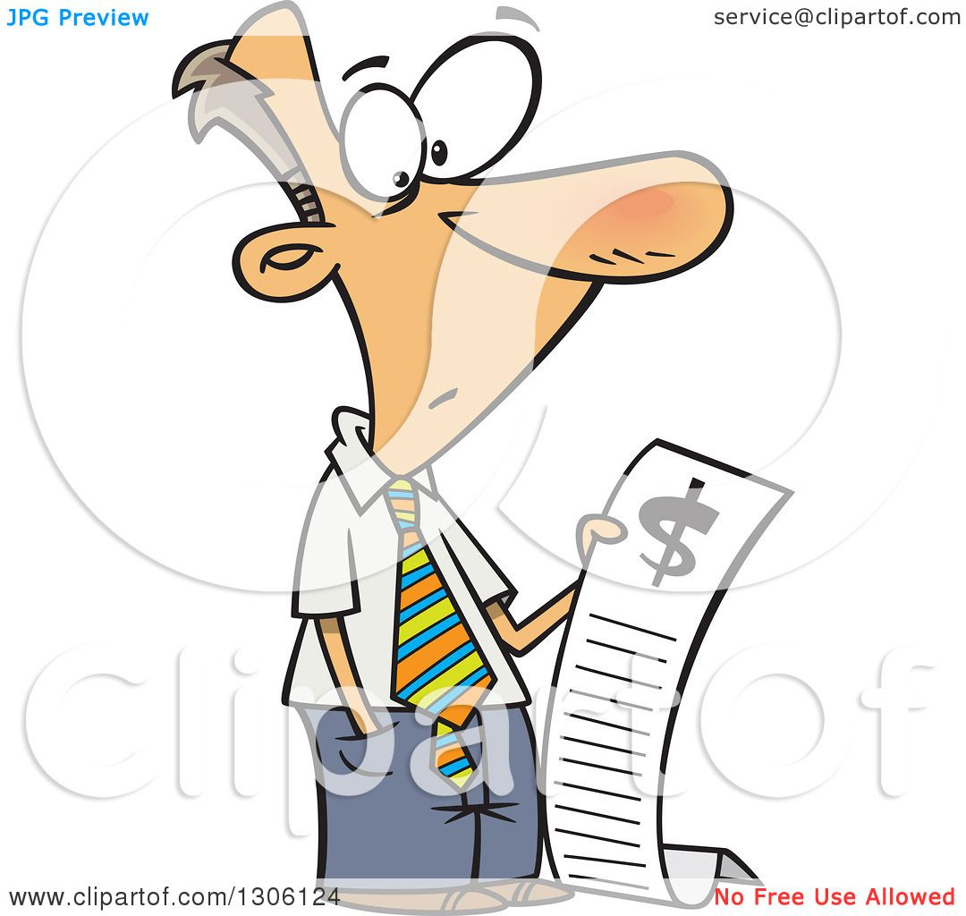 Clipart of a Cartoon Shocked White Businessman Reading a Long Bill.