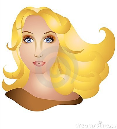 Woman With Long Blonde Flowing Hair Stock Photography.
