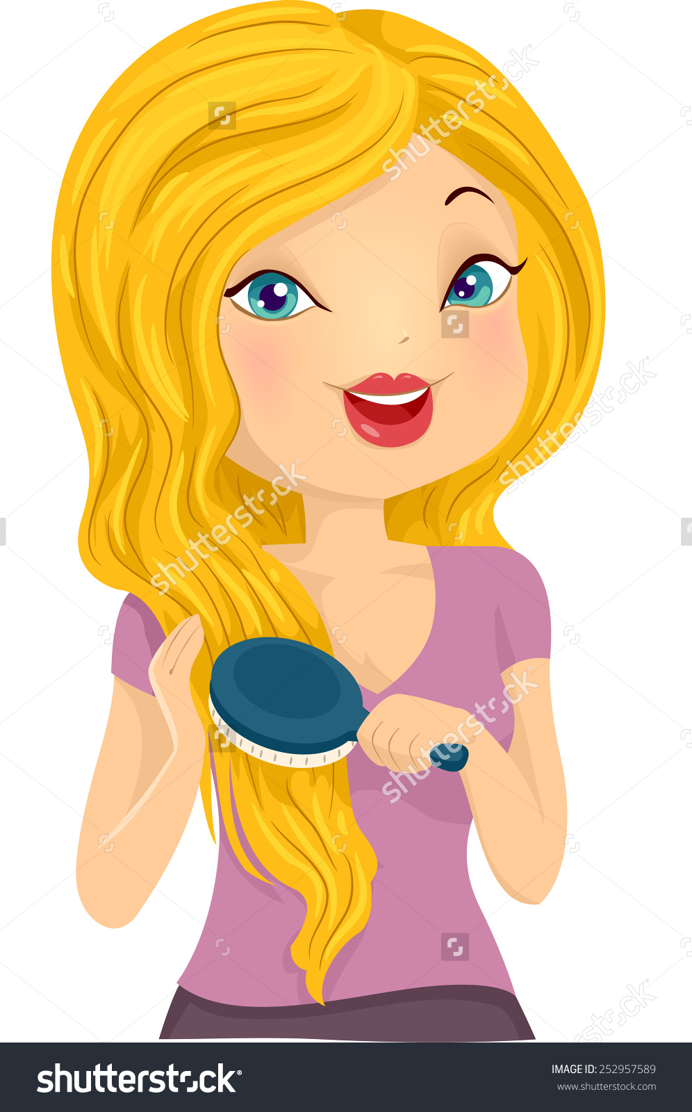 Illustration Girl Brushing Her Long Blonde Stock Vector 252957589.