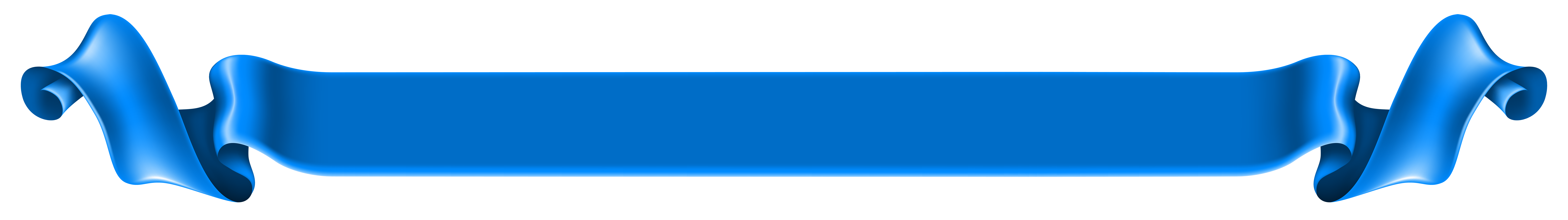 Long Blue Banner Transparent PNG Clip Art Image.