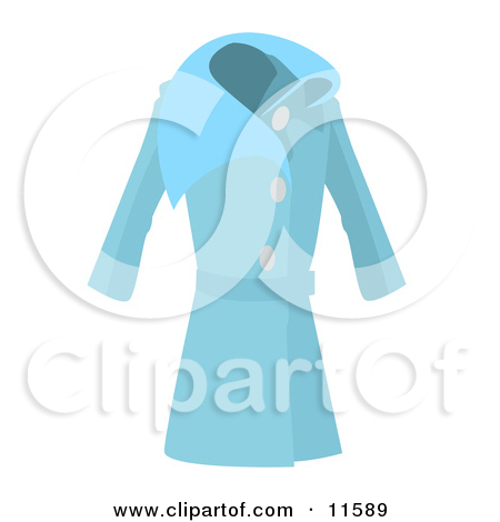 Long Blue Ladies Coat Clipart Picture by AtStockIllustration #11589.