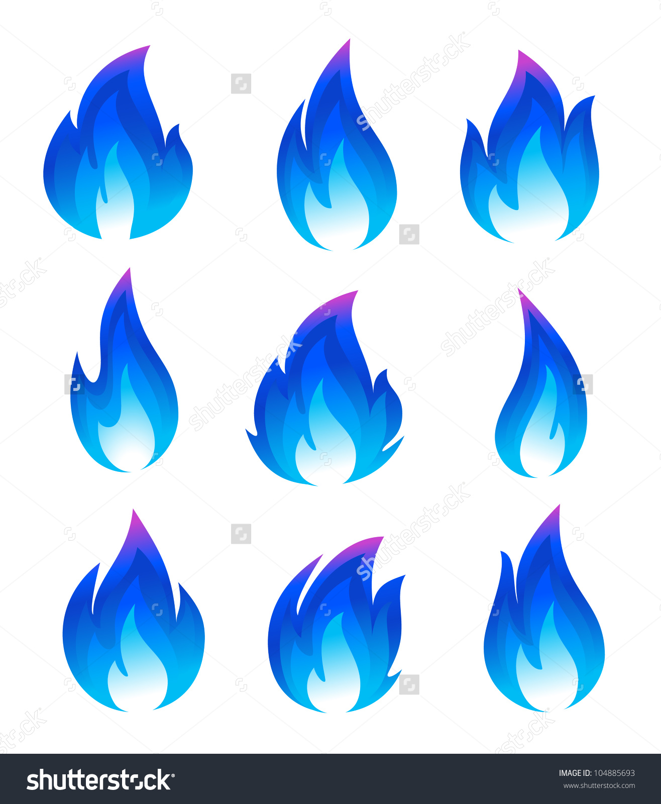 Long blue flame clipart.