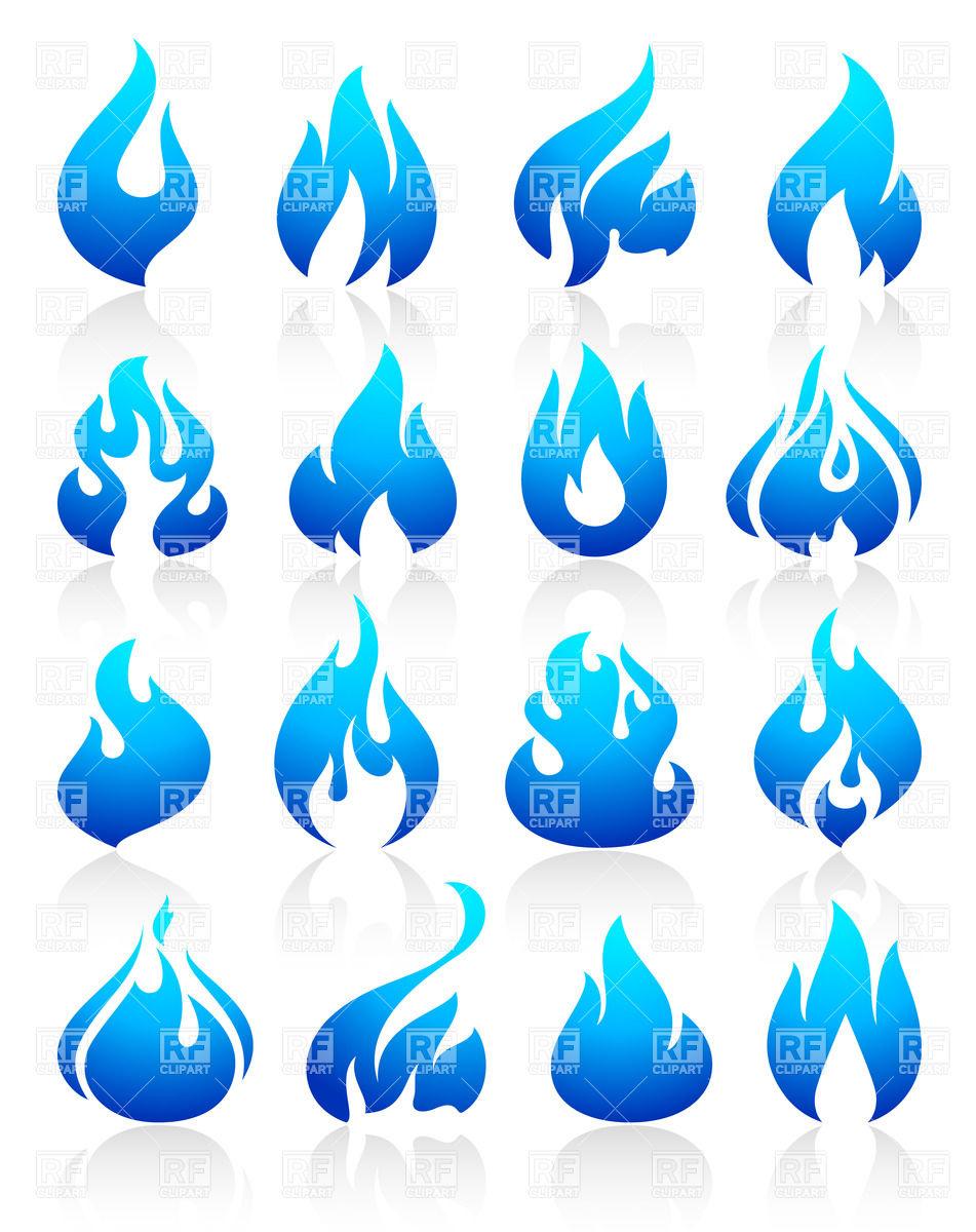 Long blue flame clipart.