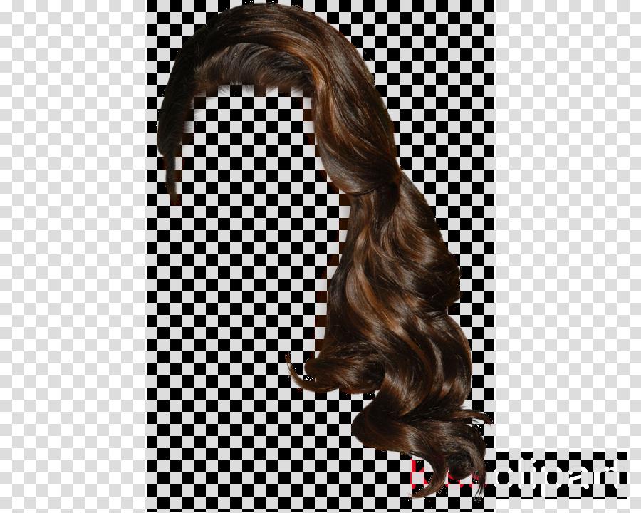 hair wig hairstyle brown long hair clipart.
