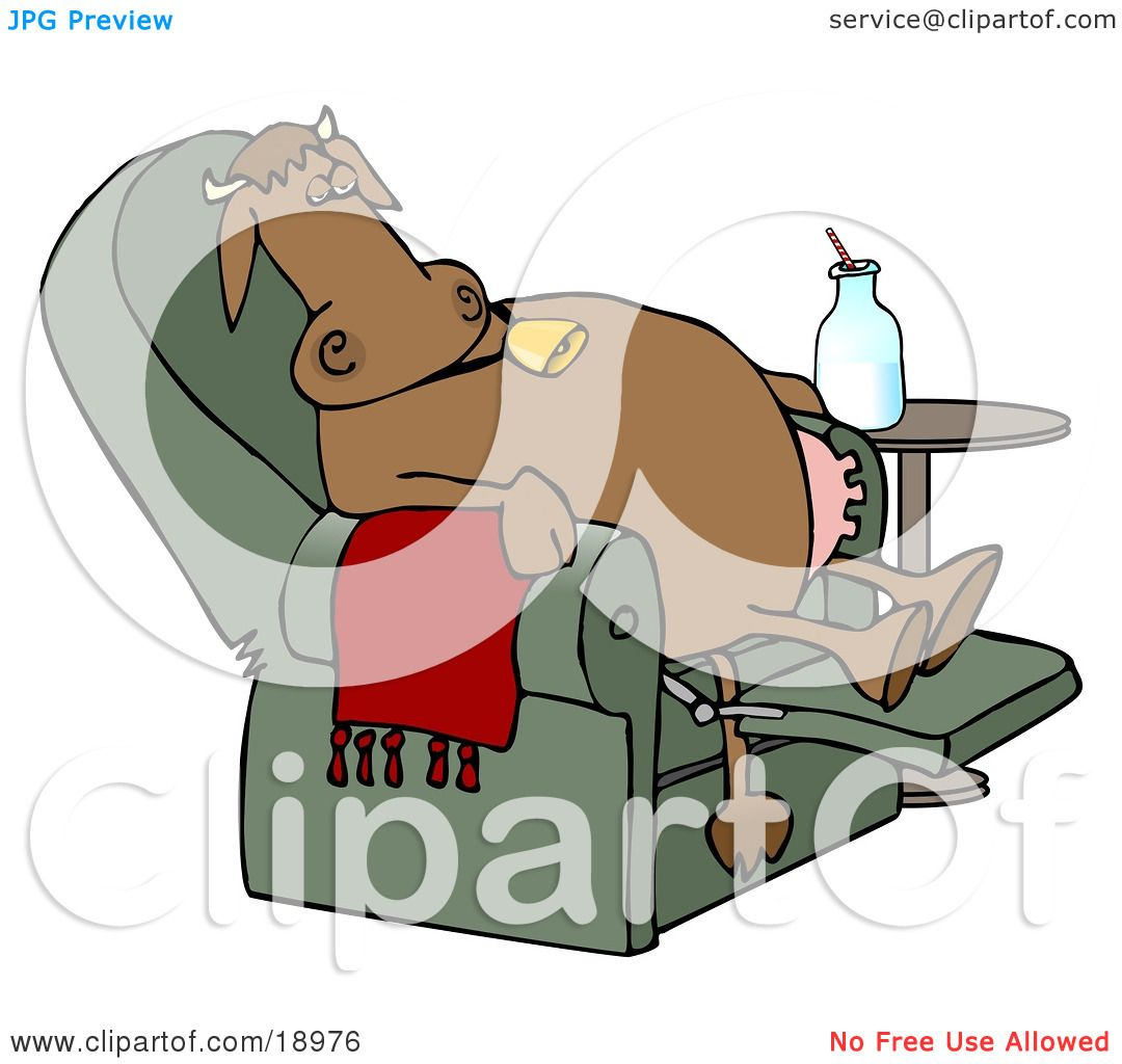 Clipart Illustration of an Exhausted Brown Cow Kicked Back.
