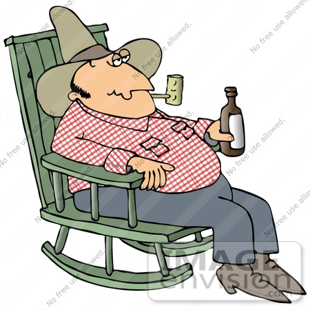 Clip Art Graphic of a Cowboy Smoking A Tobacco Pipe And Drinking A.