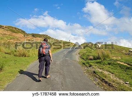 Pictures of Female hiker on The Cleveland Way National trail long.