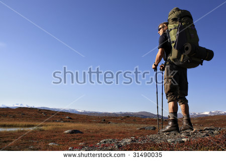 Hiker On Kungsleden Long Distance Hiking Stock Photo 31490035.
