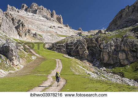 """Stock Images of """"Ascent from Falzarego Pass to the Lagazuoi, long."""