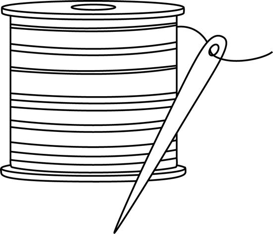 Black and White Needle and Thread Clip Art.