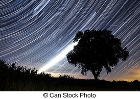Stock Image of Time Lapse Image of the Night Stars.