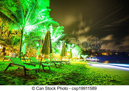 Pictures of Tropical beach at night time. Long exposure shot.