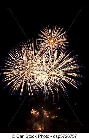 Picture of High quality firework over night city made with long.