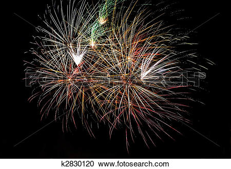 Stock Photography of Photo of multiple real fireworks on long.