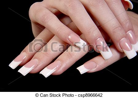 Stock Photo of Human fingers with long fingernail and beautiful.