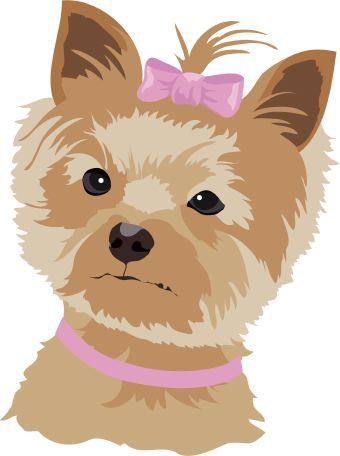 Clip art of a small brown and tan dog wearing a pink bow.