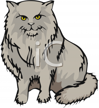 Clipart of a Fluffy Gray Cat.