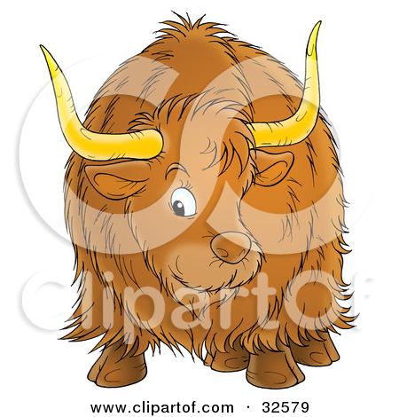 Clipart Illustration of a Brown Ox With Big Horns And Long Hair.