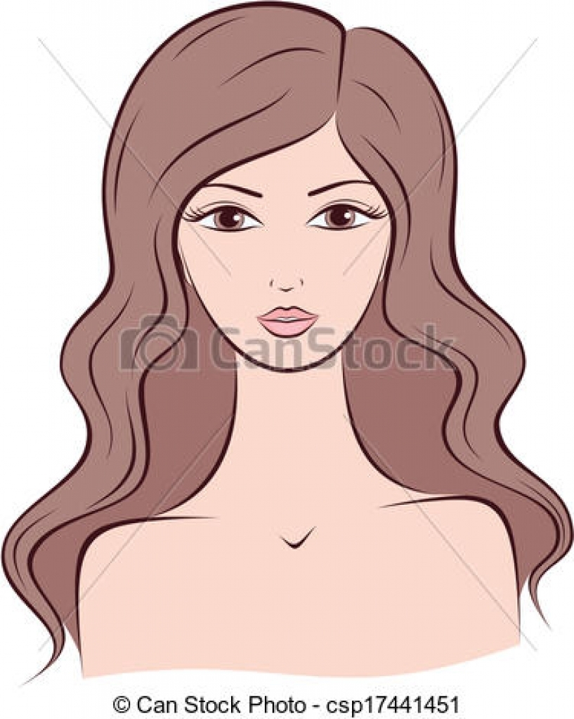 long hair clipart long hair clipart clipart vector of woman vector.