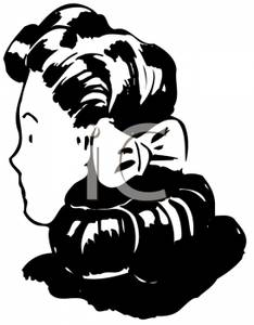 A Woman with Her Hair Tied Back with a Ribbon.