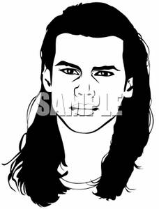 Long Hair Men Clipart.