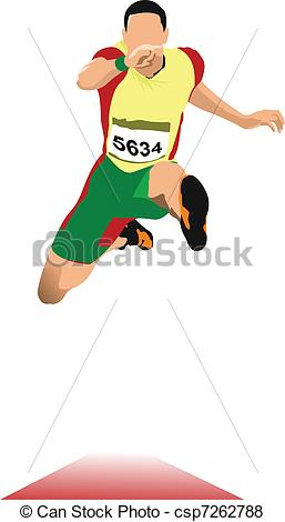 Vector of Man long jump. Sport. Track and field. Vector.