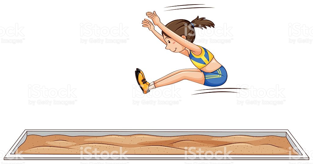 Woman Athlete Doing Long Jump stock vector art 613220460.