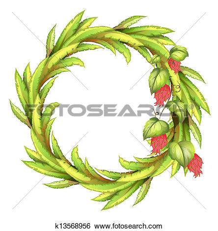 Clip Art of A round border made of long leaves k13568956.