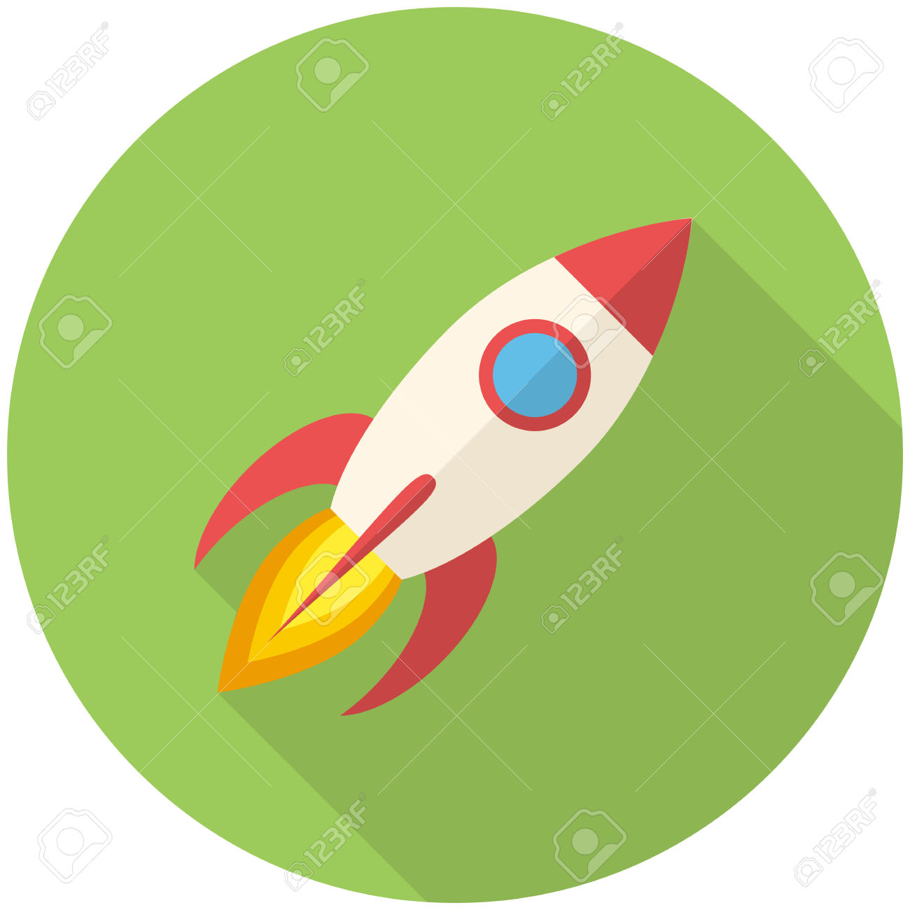 Rocket, Modern Flat Icon With Long Shadow Royalty Free Cliparts.