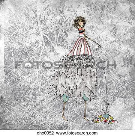 Clip Art of A woman in a long flowing dress walking a turtle on a.