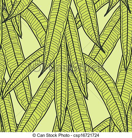 Vector Illustration of Seamless natural pattern with long leaves.