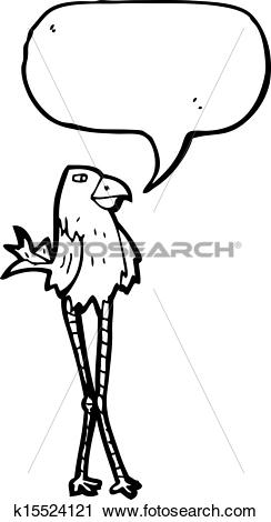 Clipart of cartoon long legged bird k15524121.