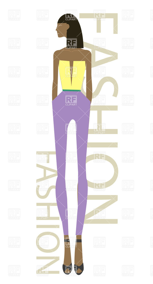 The African fashion model with slender long legs Vector Image.