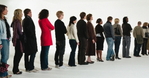 Long Line of People Waiting Clip Art.