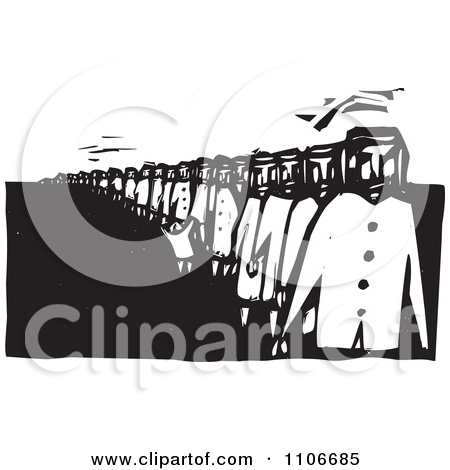 Clipart People Waiting In A Long Line Black And White Woodcut.
